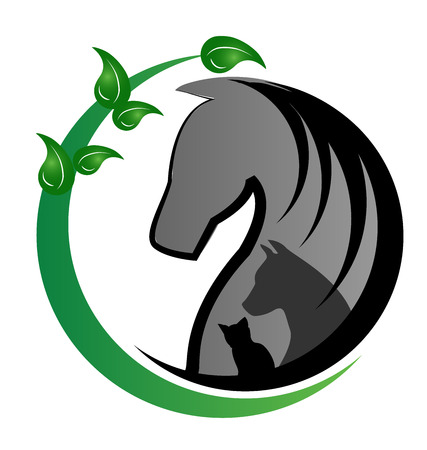 veterinary icon: Horse cat and dog in a farm silhouettes with green leafs stylized