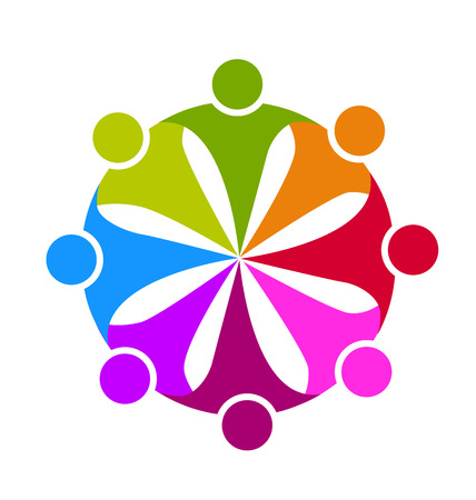 together voluntary: teamwork union business people corporation icon logo template Illustration