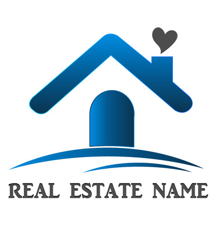 Real estate house love card template design Vector