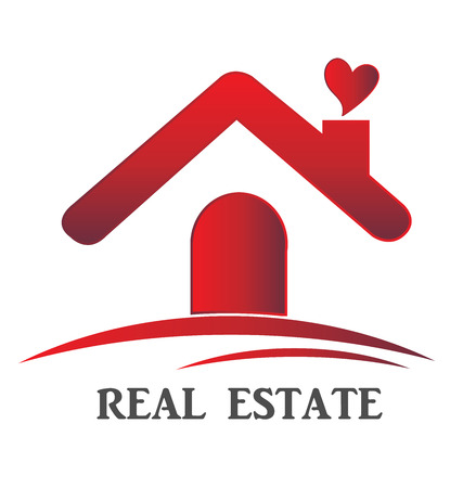 real estate house: Real estate house love card template Illustration
