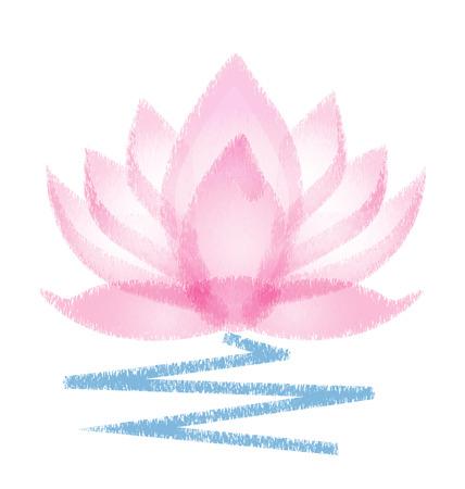 Pink Lotus grunge vector flower Vettoriali