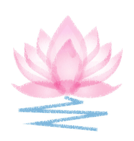 Pink Lotus grunge vector flower Illustration