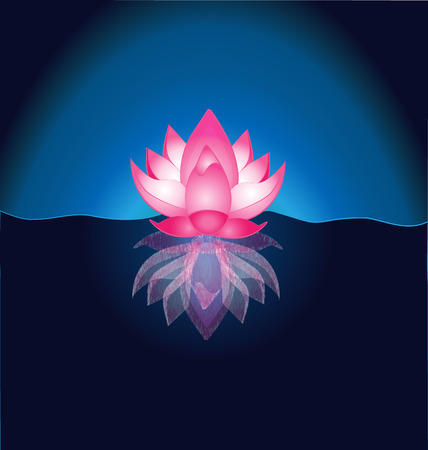 Pink Lotus flower vector background template wallpaper Illustration