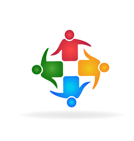 employee stock option: Teamwork meeting business hugging people identity card business vector icon logo Illustration