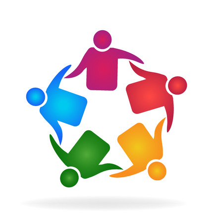 swooshes: Teamwork meeting business hugging people identity card business icon logo Illustration