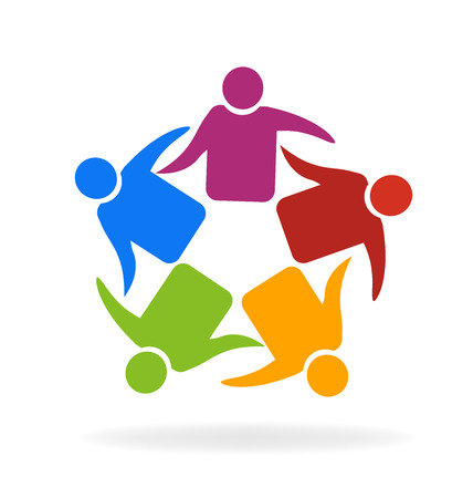 employee stock option: Teamwork meeting business hugging people vector icon