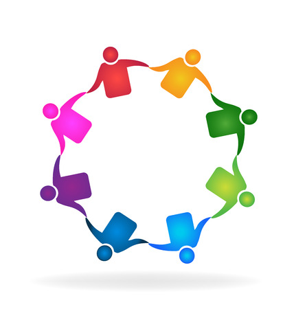 Teamwork meeting business hugging people identity card business icon Illustration