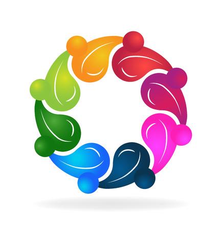 gezonde mensen: Teamwork gezonde mensen kleurrijke concept van het leven creatief logo template