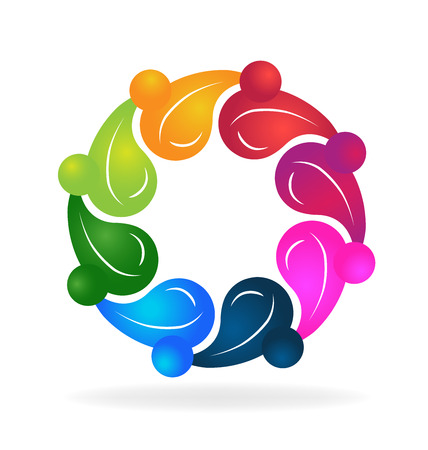 together voluntary: Teamwork healthy people colorful concept of life creative logo template