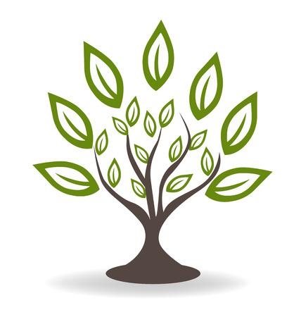 Árbol con hermosas hojas verdes concepto de medio ambiente icono insignia de la plantilla