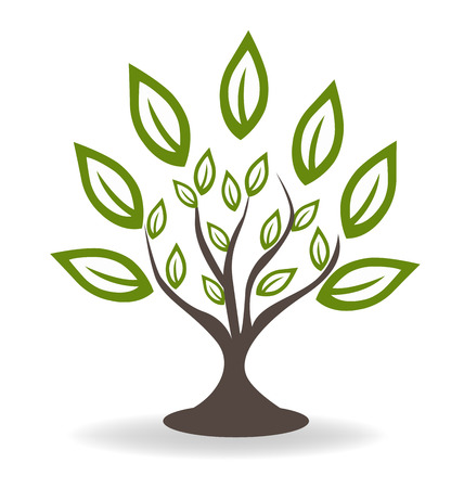 Boom met mooie groene bladeren omgeving concept pictogram logo template Stock Illustratie