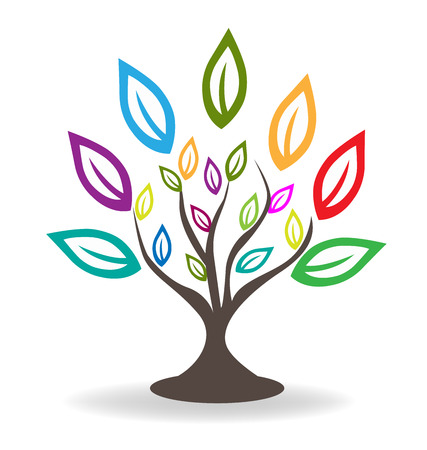 Tree with beautiful colorful leafs.Familytree concept icon logo template Çizim