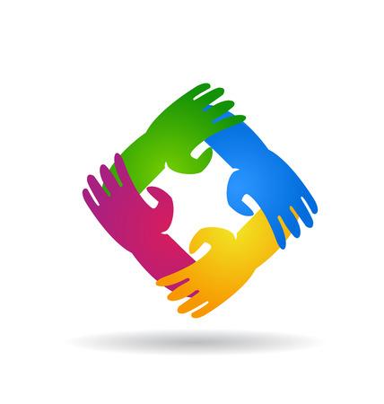 manos logo: Trabajo en equipo a cuatro manos alrededor de colorido vector icono de diseño de logotipo