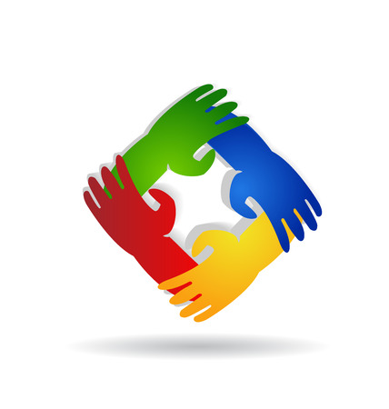 multi cultural: Teamwork hands around colorful vector icon logo