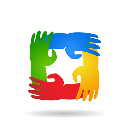 multi finger: Teamwork hands around colorful vector logo