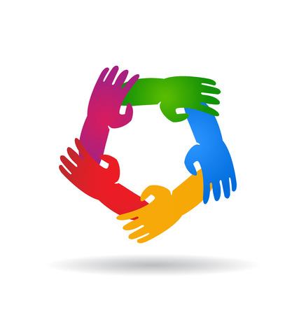 la union hace la fuerza: Trabajo en equipo cinco manos alrededor de colorido vector logo Vectores