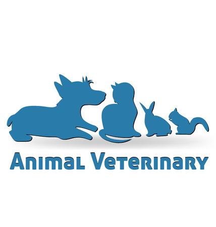 Pets cat dog rabbit and squirrel vector identity card Ilustração