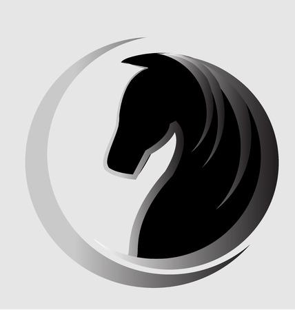 caballos negros: DNI vector logo Hermoso caballo