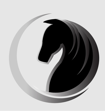 garanhão: Logotipo do cavalo bonito cartão de identidade vector