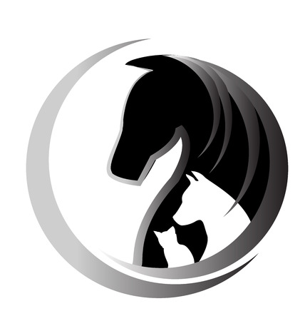 carreras de caballos: Gato Caballo y perro unidad símbolo vector logo