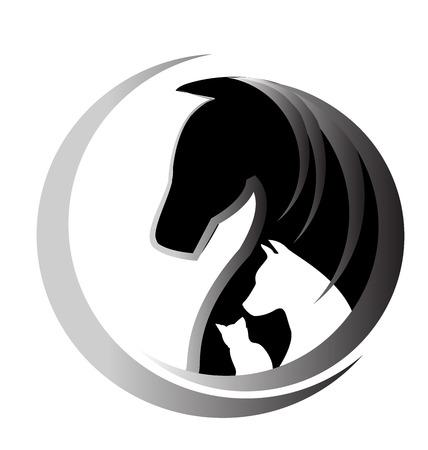 caballo negro: Gato Caballo y perro unidad símbolo vector logo