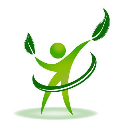 gente saludable: La naturaleza de la Salud de identidad vector web logo Vectores