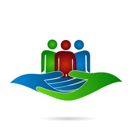 manos logo: Manos personas bondadosas concepto de solidaridad compasión logotipo de diseño vectorial
