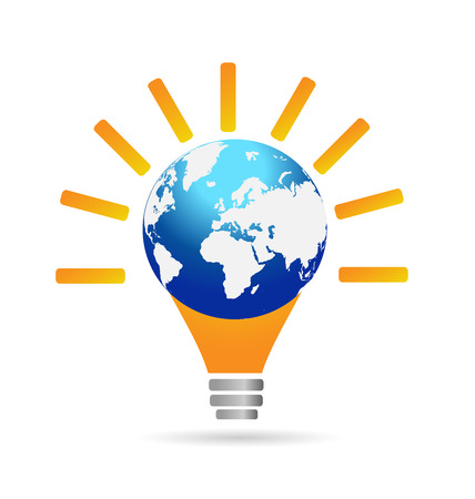 logo marketing: Light bulb idea concept. Marketing and business through the world vector icon logo
