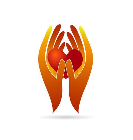 terra arrendada: Mãos que prendem um coração. Caridade conceito de identidade cartão de visita do logotipo do ícone do vetor