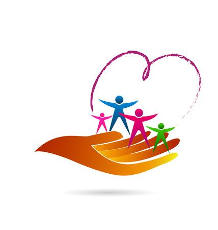 niños ayudando: El cuidado de la familia identidad símbolo icono de la tarjeta de visita del vector de diseño web logo