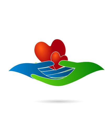 corazones azules: Manos sosteniendo un corazón. Amor concepto de identidad tarjeta de visita del icono del vector logo
