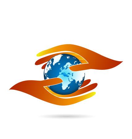 education: Soins des mains du monde. Business concept vecteur web icon logo