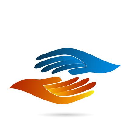 manos logo: Concepto de negocio Apretón de manos de identidad icono vector web logo