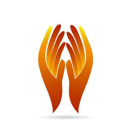 logo ordinateur: Mains sans espoir. Foi identité concept carte de visite vecteur icône logo