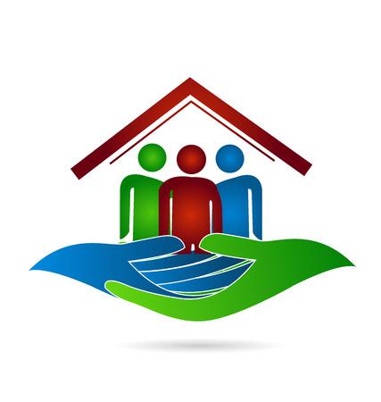 casa blanca: Casa manos protecci�n de la familia tarjeta de visita identidad del icono del vector logo dise�o web
