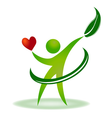 Natura opieki zdrowotnej serce wektor tożsamości wizytówki logo