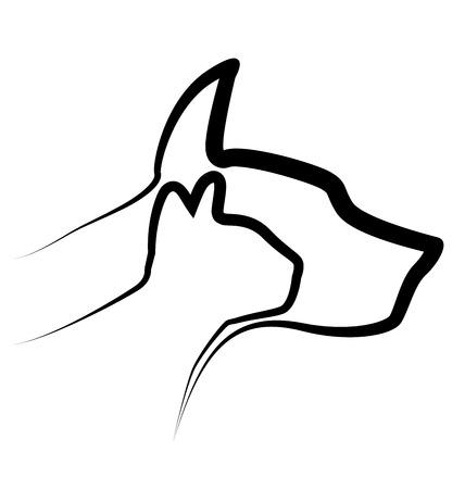 Kat en Hond vector silhouetten logo template