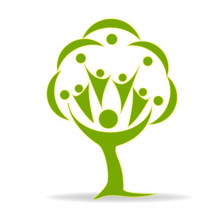 vida saludable: Árbol gente verde tarjeta de identidad vector logo plantilla