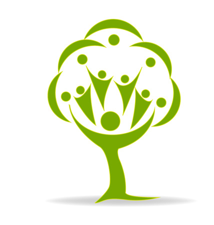 přátelé: Strom zelená lidé průkaz vektor logo šablony