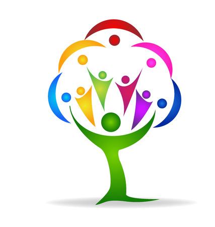 egészségügyi ellátás: Fa emberek személyi igazolvány vektoros logo sablon Illusztráció