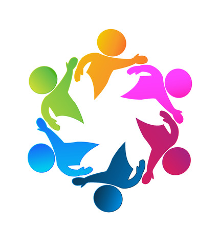 children circle: Teamwork business happy people icon web could be children workers in a success business logo template