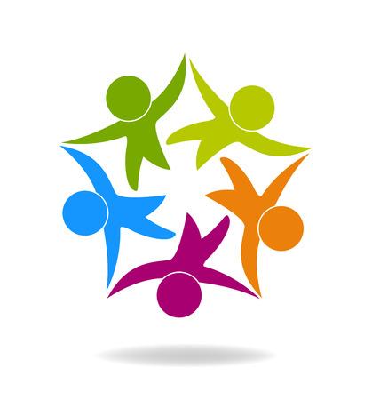 niños ayudando: Trabajo en equipo de negocios feliz gente icono de la web podría ser niños trabajadores de una plantilla de logotipo de la empresa de éxito