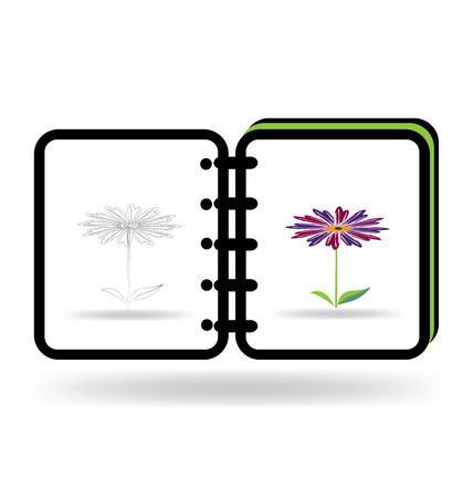 Notebook art graphic illustration logo template Vector