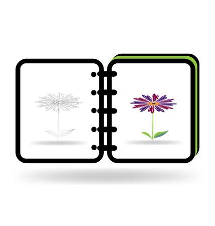 a literary sketch: Notebook art graphic illustration logo template Illustration