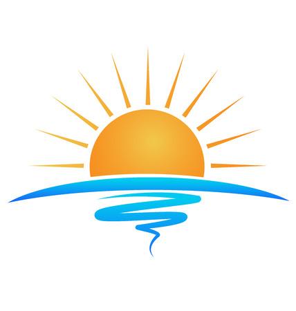 Sun sea waves identity card logo template