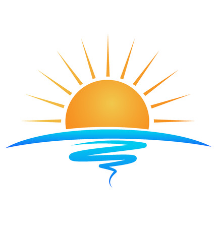 słońce: Sun fale morskie tożsamości szablon logo Ilustracja