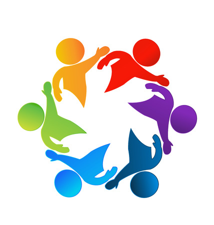 Teamwork business happy people icon web could be children workers in a success business logo template Vector