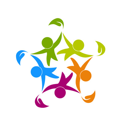 communicatie: Teamwork gezonde gelukkige mensen pictogram web kan zijn kinderen werknemers in een succesvol bedrijf logo template