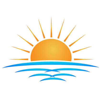 Sun sea waves identity card logo template