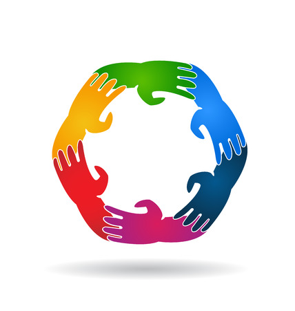 together voluntary: Teamwork six hands around colorful logo template